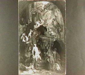 Madonna met kind door heiligen aanbeden