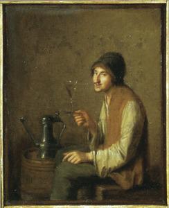 Een man met een glas wijn: De Smaak