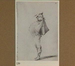 Karikatuur van een dikke man met een cape