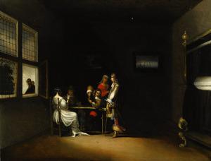 Elegant kaartspelend gezelschap in een interieur