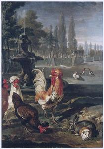 Haan en andere dieren in een park