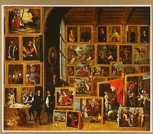 Interieur van het schilderijenkabinet van aartshertog Leopold te Brussel met de Italiaanse schilderijen