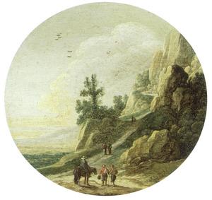 Berglandschap met een ruiter in gesprek aan de voet van een bergwand