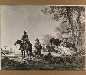 Ruiter, herders en koeien bij de oever van een rivier