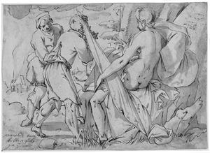 Naakte zittende vrouw onder een boom, met twee mannen