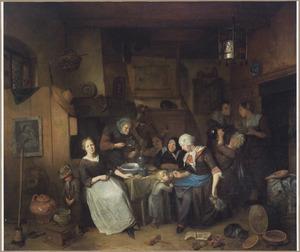 Boerengezelschap aan de maaltijd in een interieur