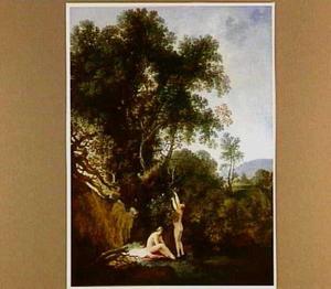 Boslandschap met badende vrouwen bij een poel