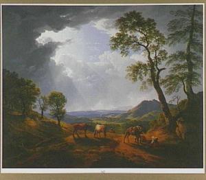 Rustende reizigers in de Romeinse Campagna bij opkomend onweer