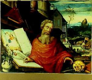 De H. Hiëronymus in zijn studeervertrek. In de achtergrond een episode uit zijn leven: de gestolen ezel