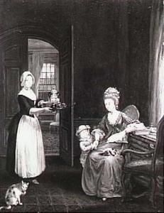 Interieur met moeder en kind, bediend door een kamermeisje