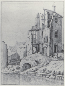 Overblijfselen van de Pellecussenpoort te Utrecht na de orkaan van 1674