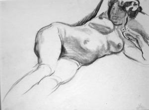 Liggend vrouwelijk naakt