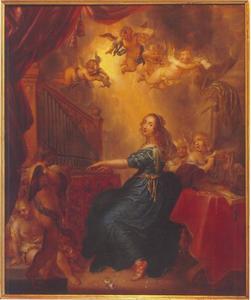 De heilige Caecilia orgel spelend