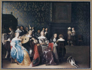 Elegant musicerend, drinkend en converserend gezelschap in een rijk interieur