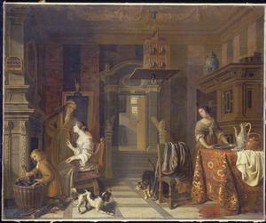 Elegant paar bij de haard in een interieur, met een jongen en een dienstmeid