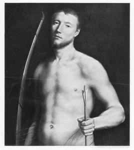 Portret van een jongeman als de H. Sebastiaan