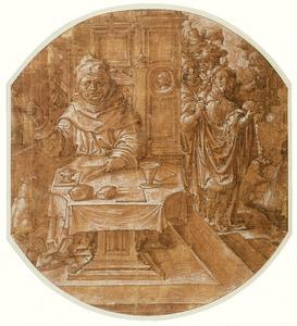 Monnik gezeten aan tafel en figuren bij een fontein