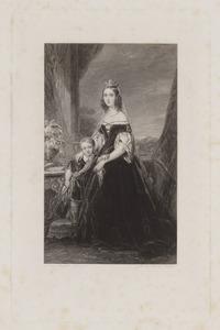 Portret van koningin Sophie von Württemberg (1818-1877) met haar zoon, Maurits van Oranje-Nassau (1843-1850) of Willem van Oranje-Nassau (1840-1879)
