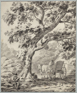 Paard en wagen onder een boom
