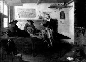 Kleermaker met twee assistenten in zijn atelier