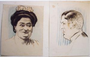 Studieblad met twee portretten
