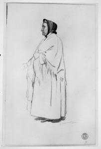 Studie van een staande vrouw met omslagdoek