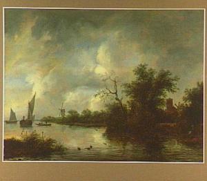 Rivierlandschap met een kerk en twee molens op de rechteroever