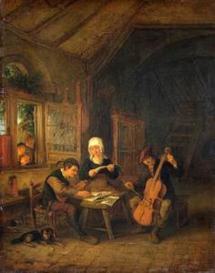Musicerende groep in een interieur met kinderen achter een venster