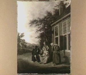 Rustende wandelaar voor een herberg bij een groepje vrouwen met kinderen met links een doorkijk naar een heuvelachtig landschap