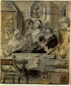Interieur met een goudwegende vrouw en een oude man aan tafel, een liefdespaar op de achtergrond