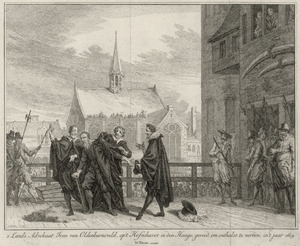 Johan van Oldenbarnevelt (1547-1619) wordt ontkleed voor de onthoofding
