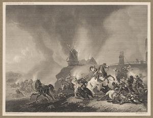 Ruitergevecht voor een brandende windmolen en brug