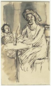 Moeder en kind aan een tafel in een café