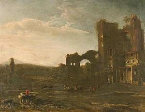 Zuidelijk landschap met herberg bij ruïnes