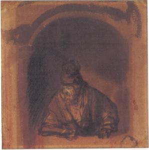 Bebaarde oude man met een hoge hoed, leunend op een raamkozijn