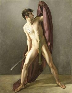 Krijgsman met getrokken zwaard