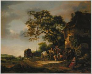 Landschap met reizigers voor een herberg
