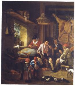 Interieur met rokende en drinkende boeren en een vrouw met het verwerken van vlees na de slacht, een opengespalkte os op de achtergrond