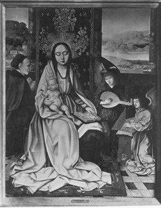 De Heilige Familie met musicerende engelen
