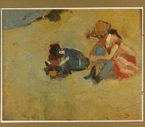 Twee kinderen in het duin
