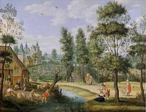Een bos en een park rond een kasteel met galante paren