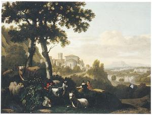 Zuidelijk landschap met rustend vee; op de achtergrond een stad