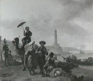 Zuidelijk landschap met oosterlingen bij een havenplaats