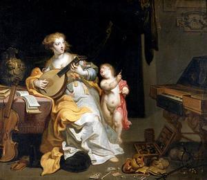 Musicerende jonge vrouw: allegorie op 'Vita brevis'