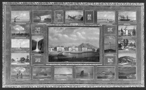 Voorstellingen van een reis van Suez naar Nagasaki via Oost-Indië; kunstwerk bestaande uit een centraal doek met daaromheen 19 kleinere panelen