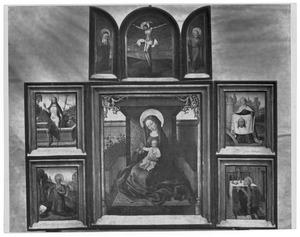 De kruisiging (boven), de opstanding en de H.Hieronymus (links), Maria met kind (midden), de H. Veronica en de Mis van Gregorius (rechts)