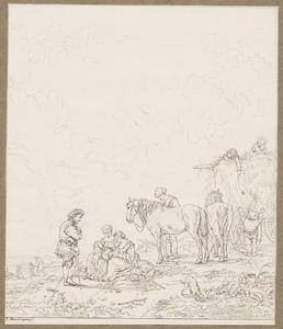 Rustende boeren bij een hooiwagen