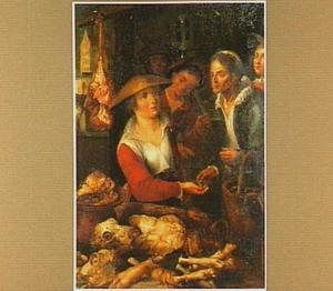 Marktkraam met vleesverkoopster en haar klanten