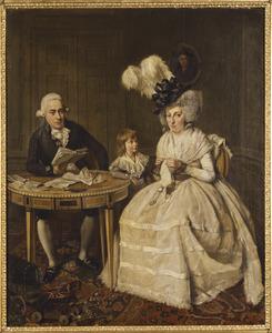 Portret van Johannes Enschedé II (1750-1799) met zijn gezin