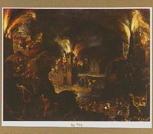 Aeneas ontvlucht met Anchises het brandende Troje